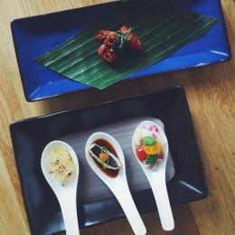 Delicate spoon sashimi & batray buffalo wing.