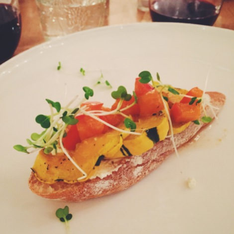 Fromage Blanc and delicata squash bruschetta with persimmons mostarda.